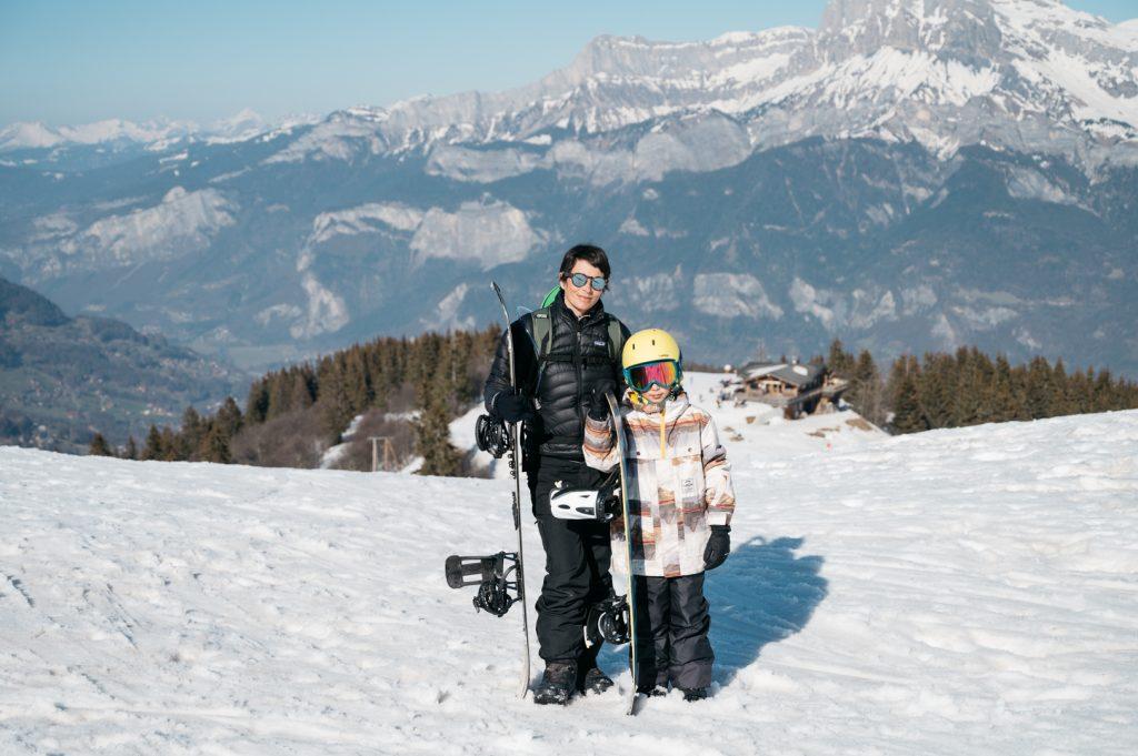 Snowboard en famille à Combloux