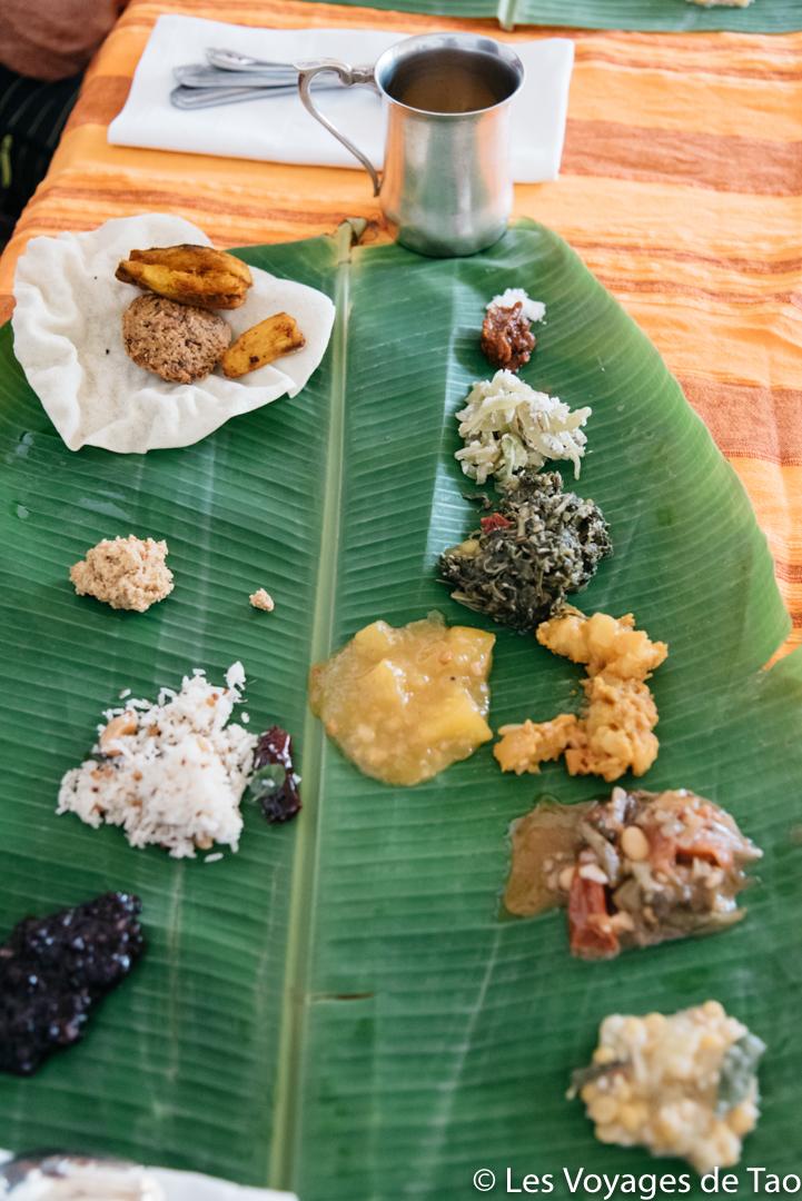 Repas au Chettinad Inde